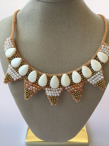 MOTHER OF PEARL BIB NECKLACE WITH CRYSTAL GLASS &  JADE