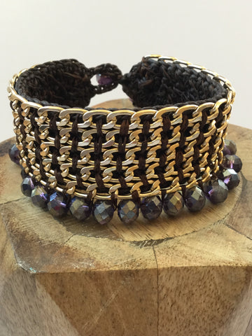 COTTON WAX & AMETHYST BEADED CUFF