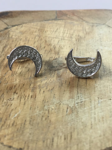 925 STERLING SILVER CRESCENT MOON CZ EARRINGS