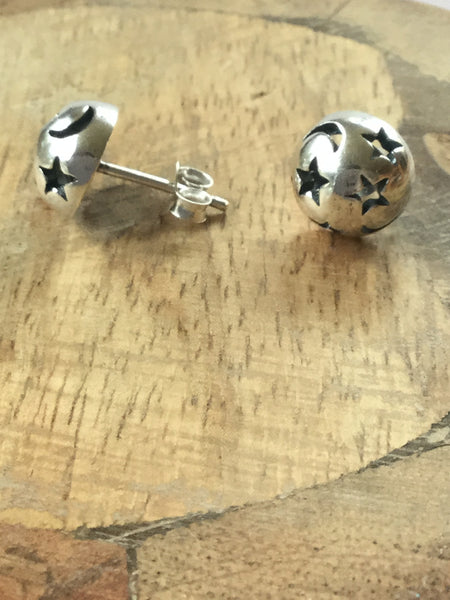 925 STERLING SILVER STAR AND CRESCENT MOON STUDS