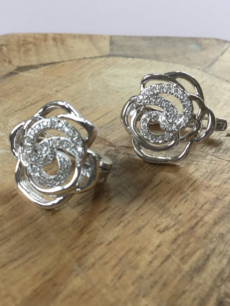 925 STERLING SILVER CZ ROSE BRITISH OMEGA LOCK EARRINGS