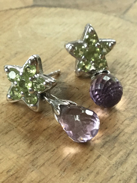 925 STERLING SILVER PERIDOT AND AMETHYST STAR DROP EARRINGS