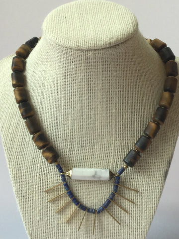 TIGER EYE AND LAPIS GEMSTONE STATEMENT NECKLACE