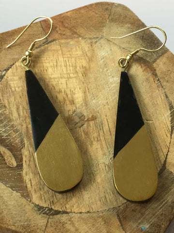 TEARDROP HORN AND BRASS DROP EARRINGS