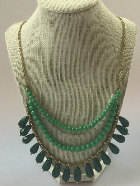 GLASS BEADED AND BRASS NECKLACE
