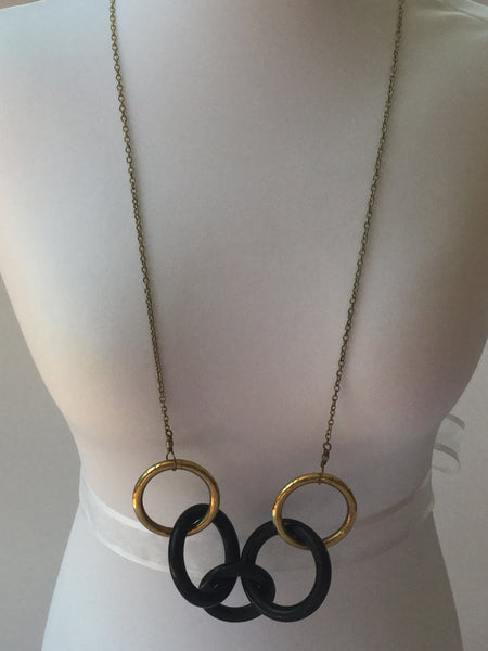 ROUND BONE AND BRASS PENDANT NECKLACE