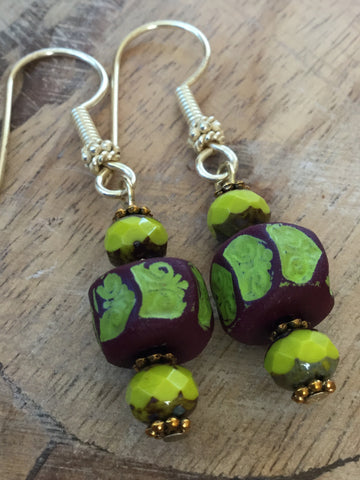 ARTISAN CZECH BEADS AND HAND-PAINTED WOOD EARRINGS