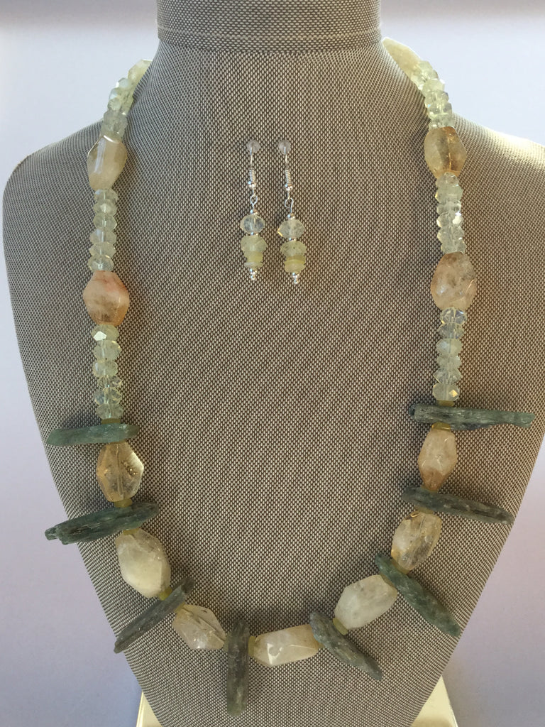 RAW CITRINE AND GREEN KYANITE TRIBAL NECKLACE