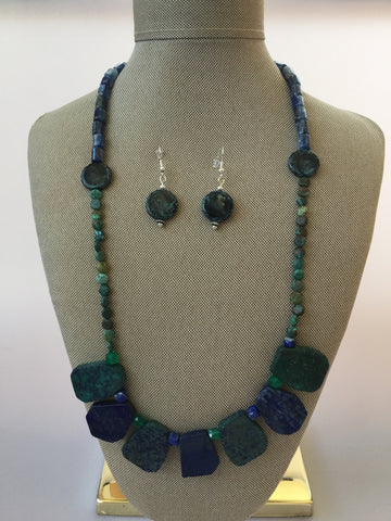 ARTISAN NATURAL SLAB GEMSTONE AND CZECH BEAD BIB NECKLACE SET