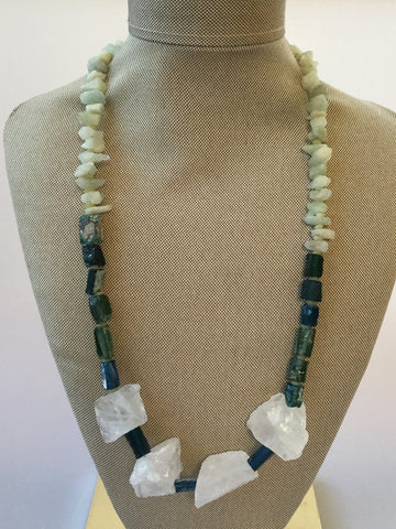 ARTISAN RAW AQUAMARINE STONES AND ANCIENT ROMAN GLASS NECKLACE