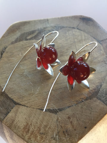 925 STERLING SILVER CARNELIAN FLOWER EARRINGS