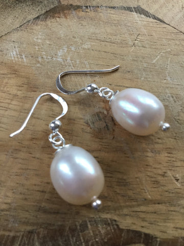 ARTISAN PURE 925 STERLING SILVER FRESHWATER PEARL DROP EARRINGS