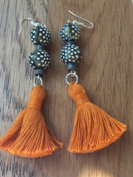 ARTISAN WOOD PAINTED BEAD WITH TASSELS