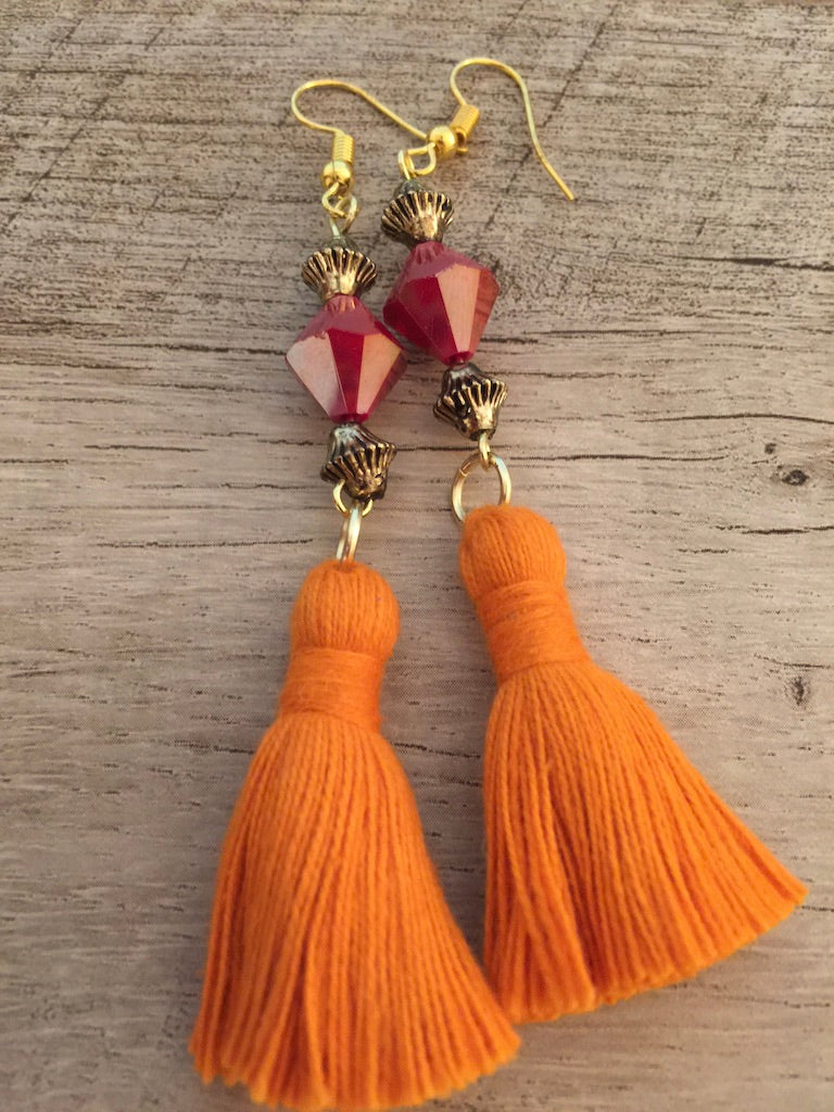 ARTISAN TASSEL FACETED GLASS BEAD EARRINGS
