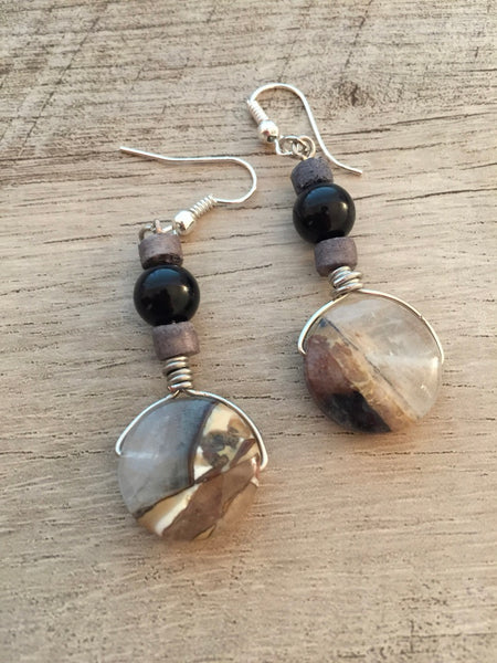 ARTISAN AGATE WIRE DROP EARRINGS