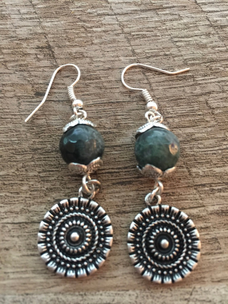 ARTISAN VINTAGE SILVER AGATE DROP EARRINGS