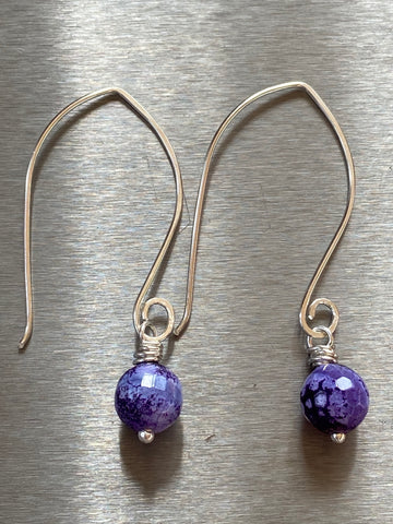 ARTISAN STERLING SILVER FORGED AGATE EARRINGS