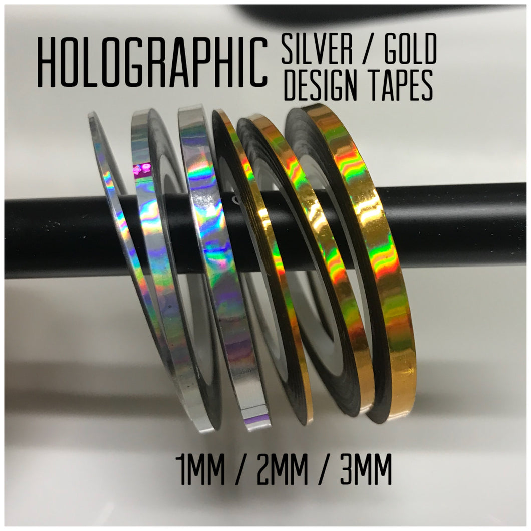 Holographic Silver / Gold Design Tape 6pcs