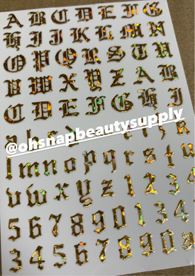 Holographic Gold Old English 359 Sticker
