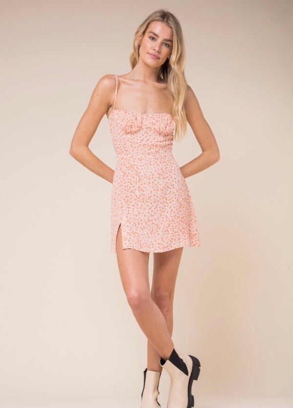 Peach Blossom Dotted Mini Dress