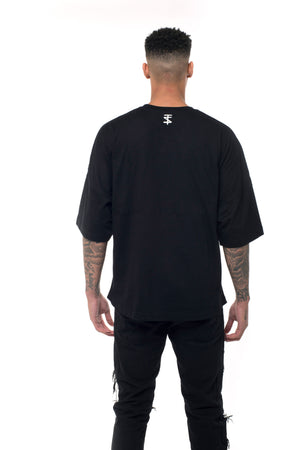 ZERO COLLAR OVERSIZED TEE - BLACK