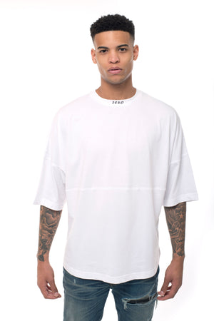 ZERO COLLAR OVERSIZED TEE - WHITE
