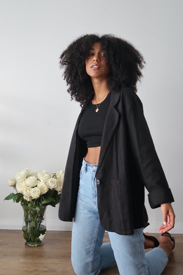 PARIS OVERSIZED LINEN BLAZER / BLACK