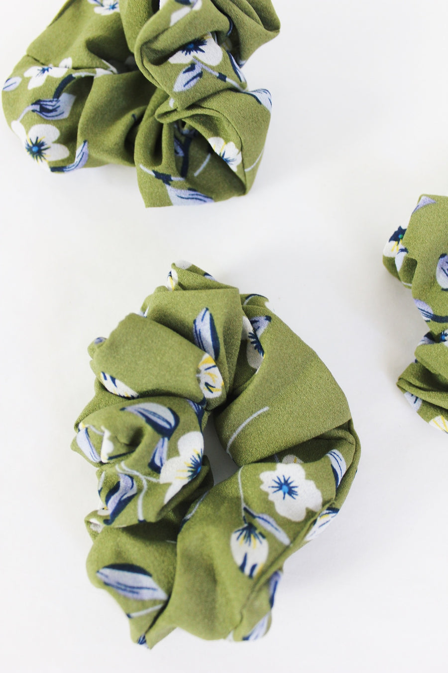 khaki green hair scrunchie