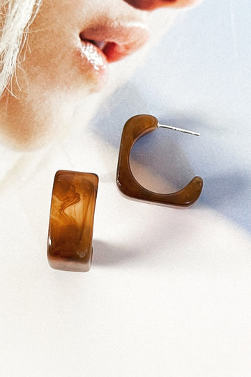 brown resin earrings