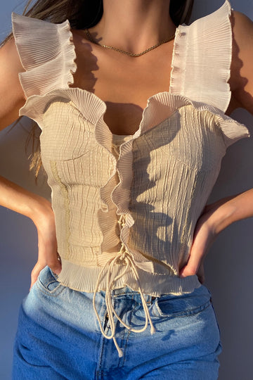 FRENCH GIRL RUFFLE TOP / CREAM - Halite Clothing