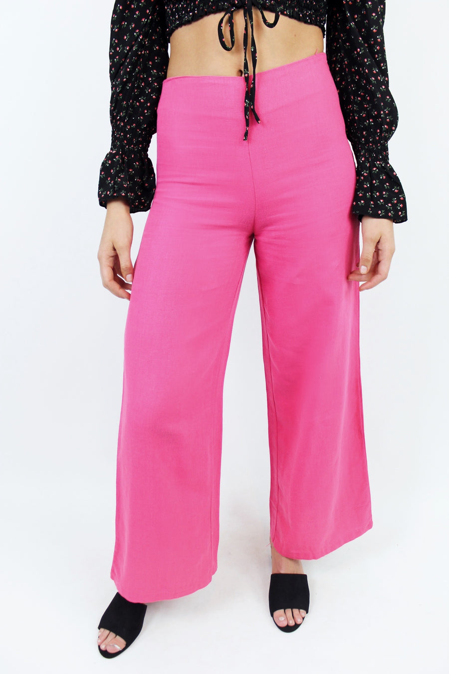 SWEET FUCHSIA PINK LINEN PANTS - Halite Clothing