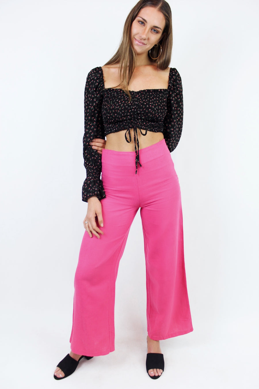 SWEET FUCHSIA LINEN PANTS