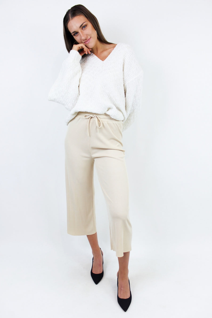 DRIFT AWAY RIBBED PANTS / CREAM - Halite Clothing