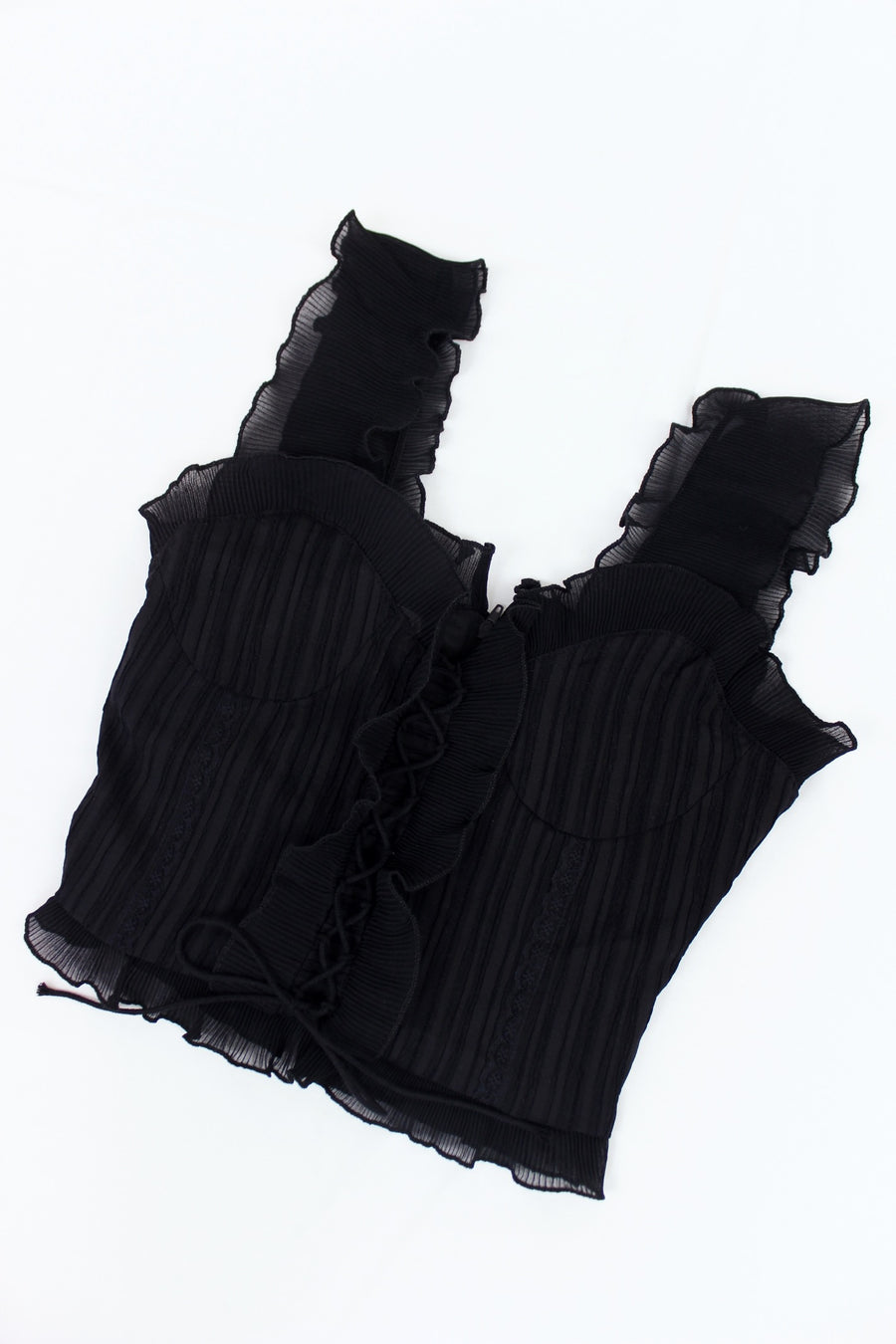 FRENCH GIRL RUFFLE TOP / BLACK - Halite Clothing
