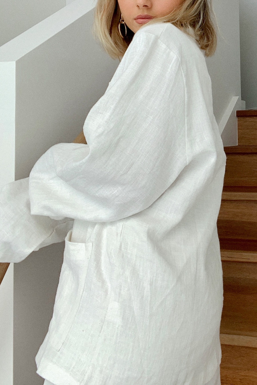 PARIS OVERSIZED LINEN BLAZER / WHITE - Halite Clothing