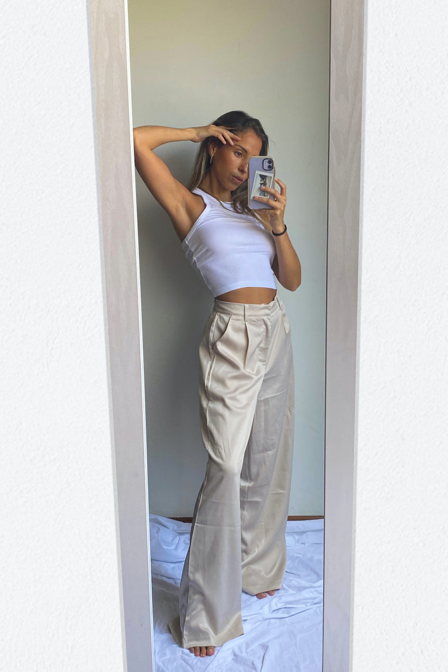 LADY BOSS SILKY PANTS / OYSTER - Halite Clothing
