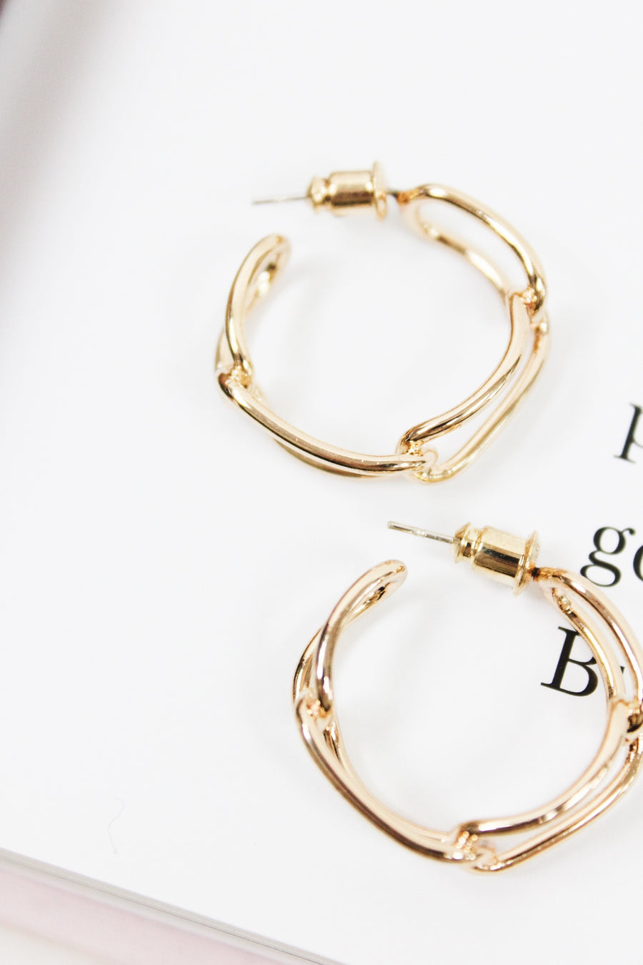 YOU AND ME GOLD CHAIN HOOPS