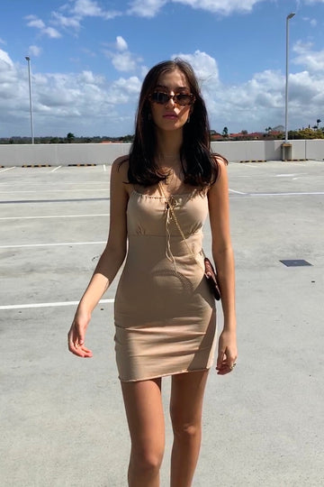 taupe mini dress