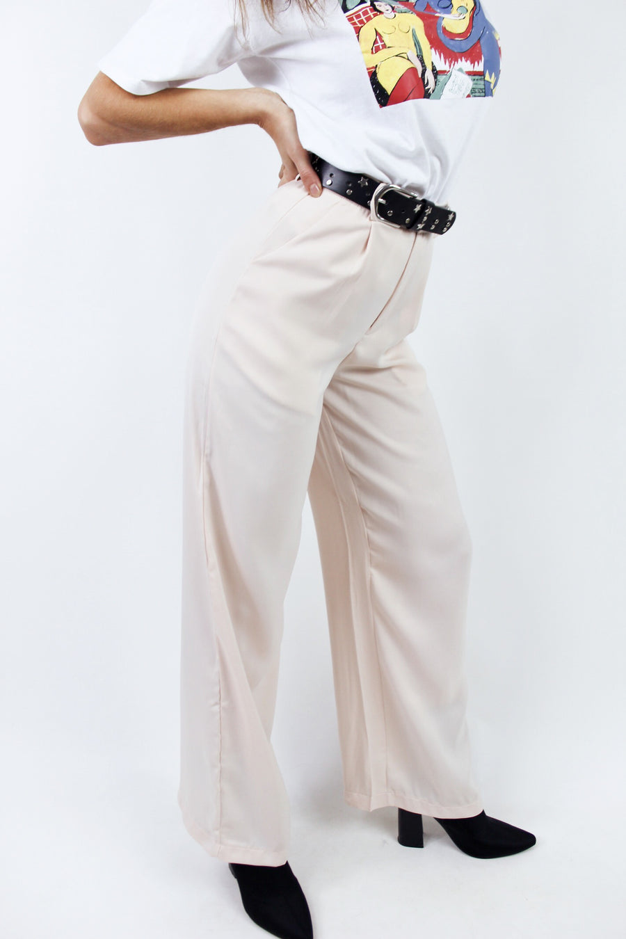 LADY BOSS SILKY TROUSERS / APRICOT - Halite Clothing