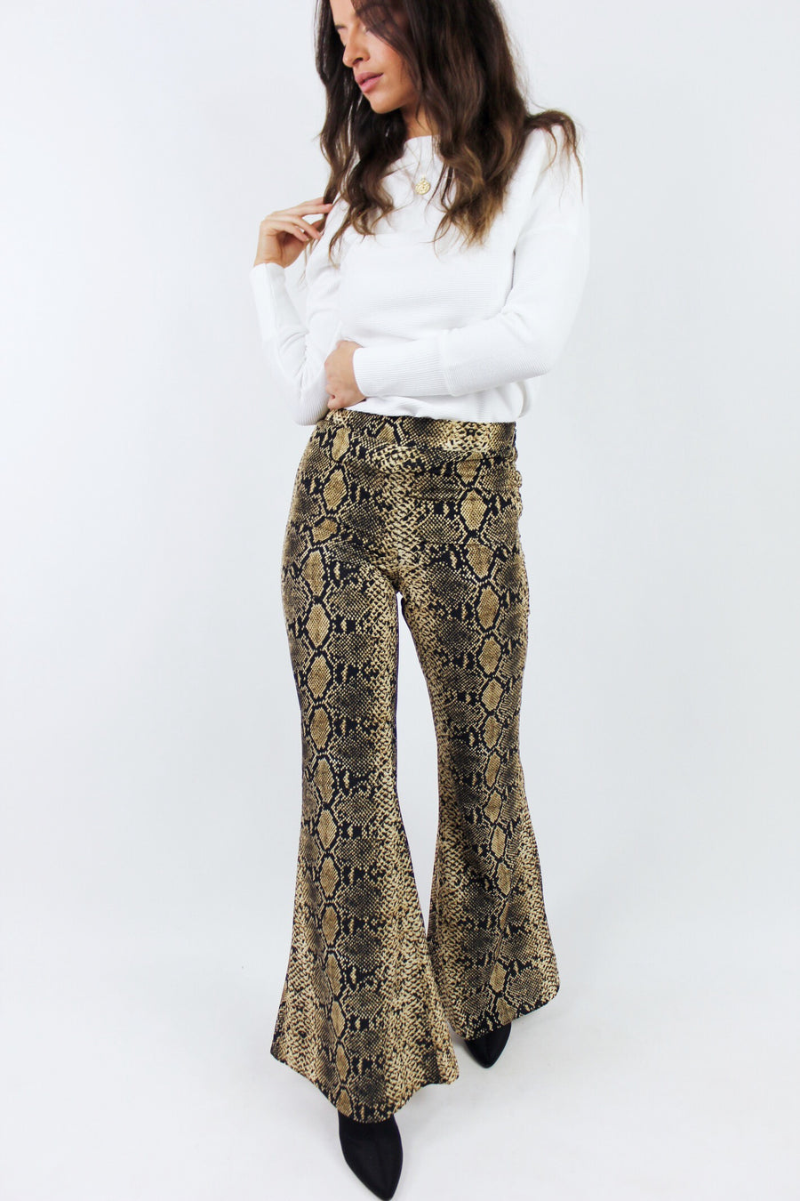 PYTHON PRINT FLARE PANTS - Halite Clothing
