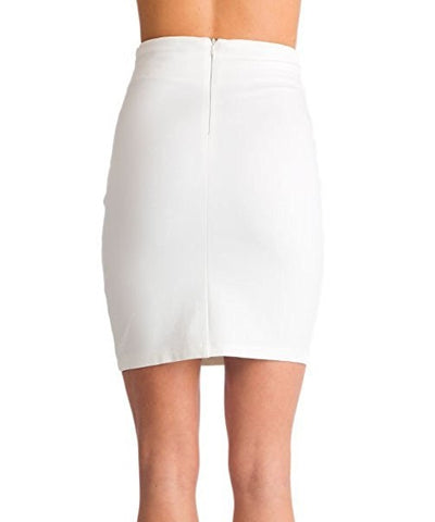 White Lace Detail Pencil Skirt- Back View