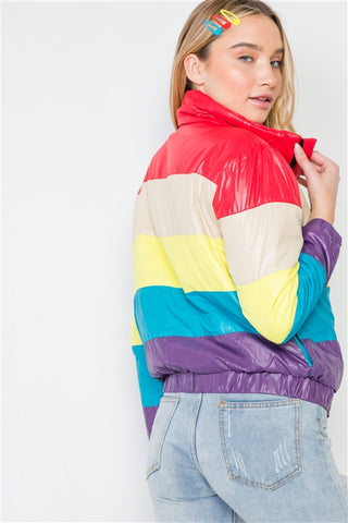 Colorblock Zip-Up Puffer Jacket | Red Multi