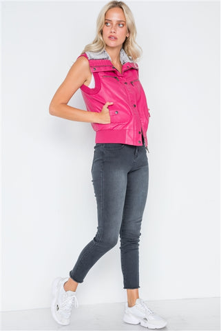 Fuchsia faux leather funnel neck zip-up vest faux fur collar- side