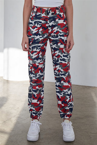 Blue & Red Camouflage Belted High Waist Cargo Jogger Pants