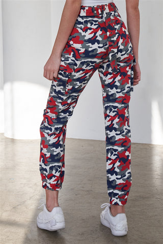 Blue & Red Camouflage Belted High Waist Cargo Jogger Pants- Back