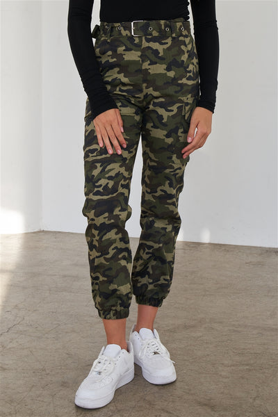 Olive Camouflage Belted High Waist Cargo Jogger Pants
