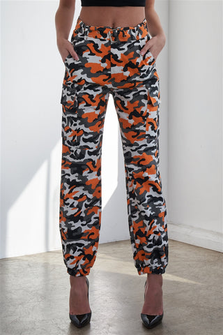 Orange Camouflage Belted High Waist Cargo Jogger Pants