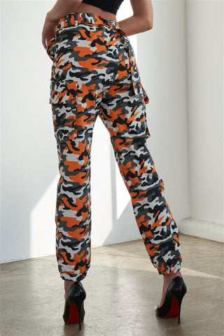 Orange Camouflage Belted High Waist Cargo Jogger Pants- Back
