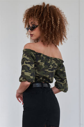 Olive Camouflage Off The Shoulder Mid-Length Puff Sleeve Crop Top- Back