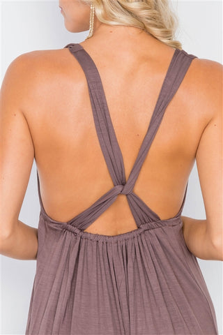 Brown Surplus V-Neck Open Back Maxi Dress- Close Up